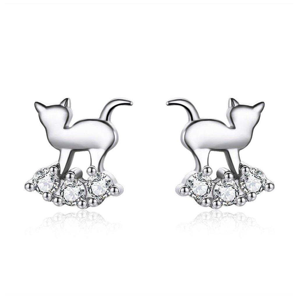 Stříbrné náušnice kočka na obláku1