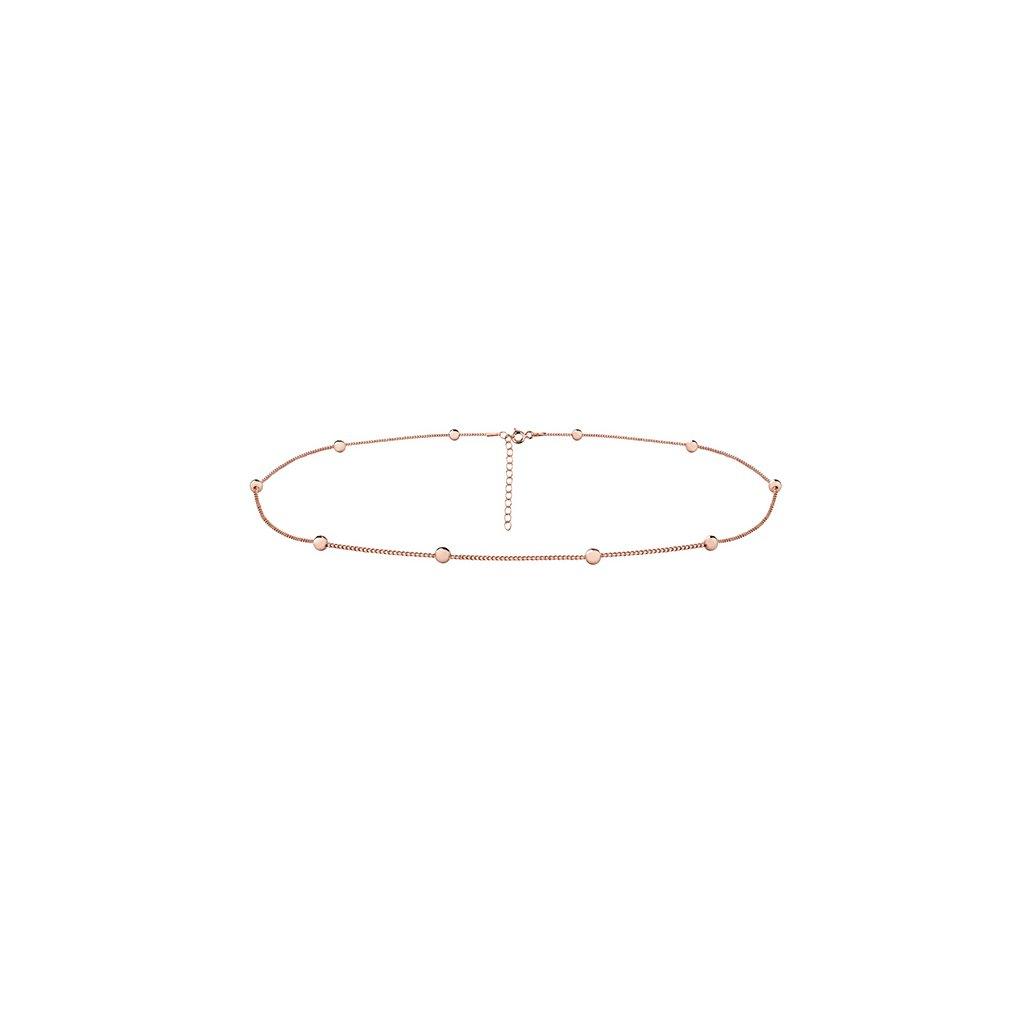 Stříbrný kuličkový náhrdelník růžové zlacení