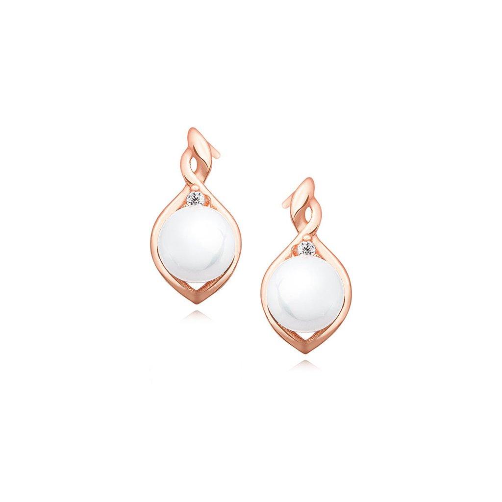 Stříbrné náušnice Perla růžové zlacení