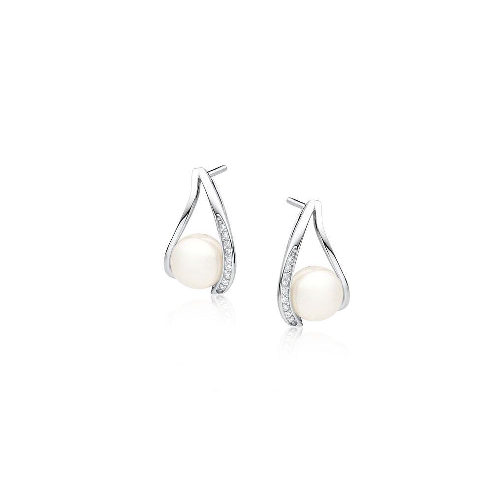 Stříbrné perlové náušnice zirkon