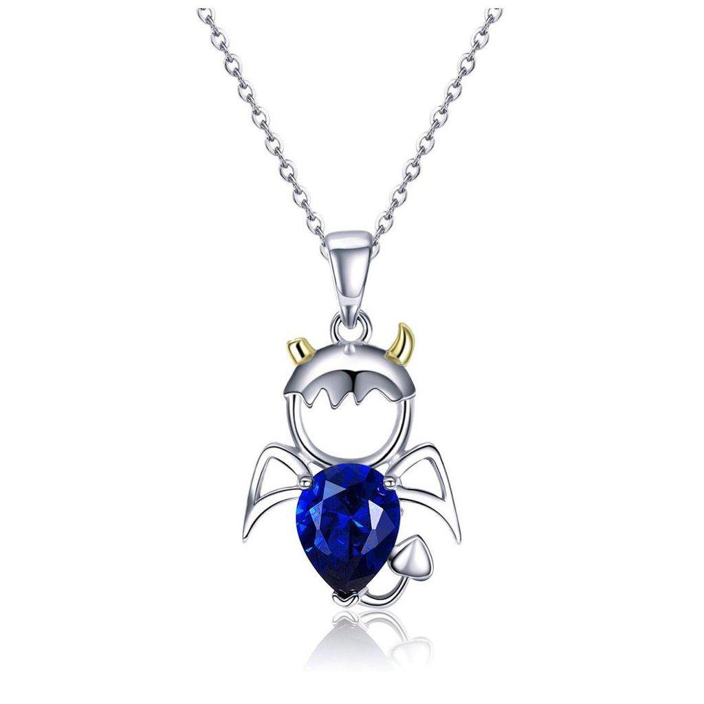 Stříbrný náhrdelník modrý ďábel