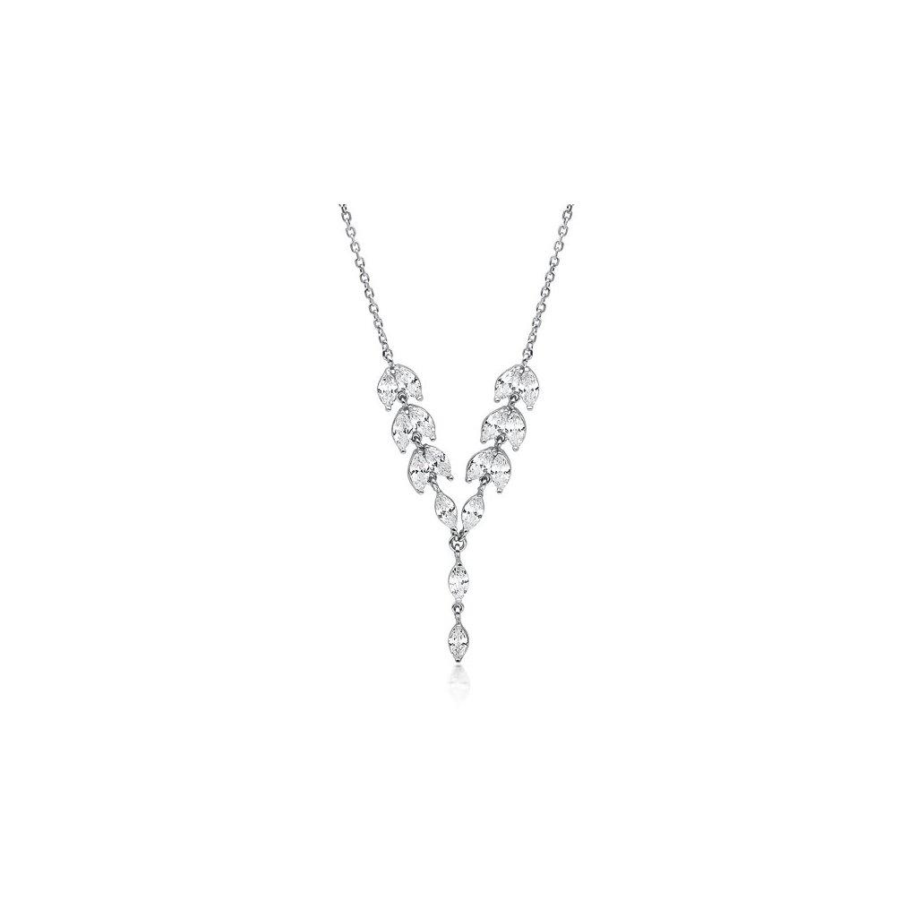 Luxusní náhrdelník čiré zirkony