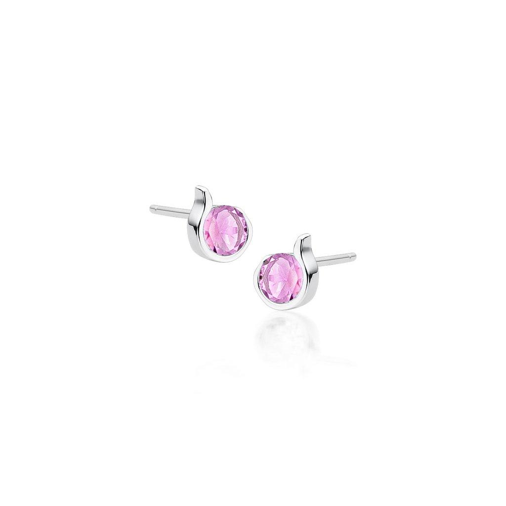 náušnice růžový kamínek