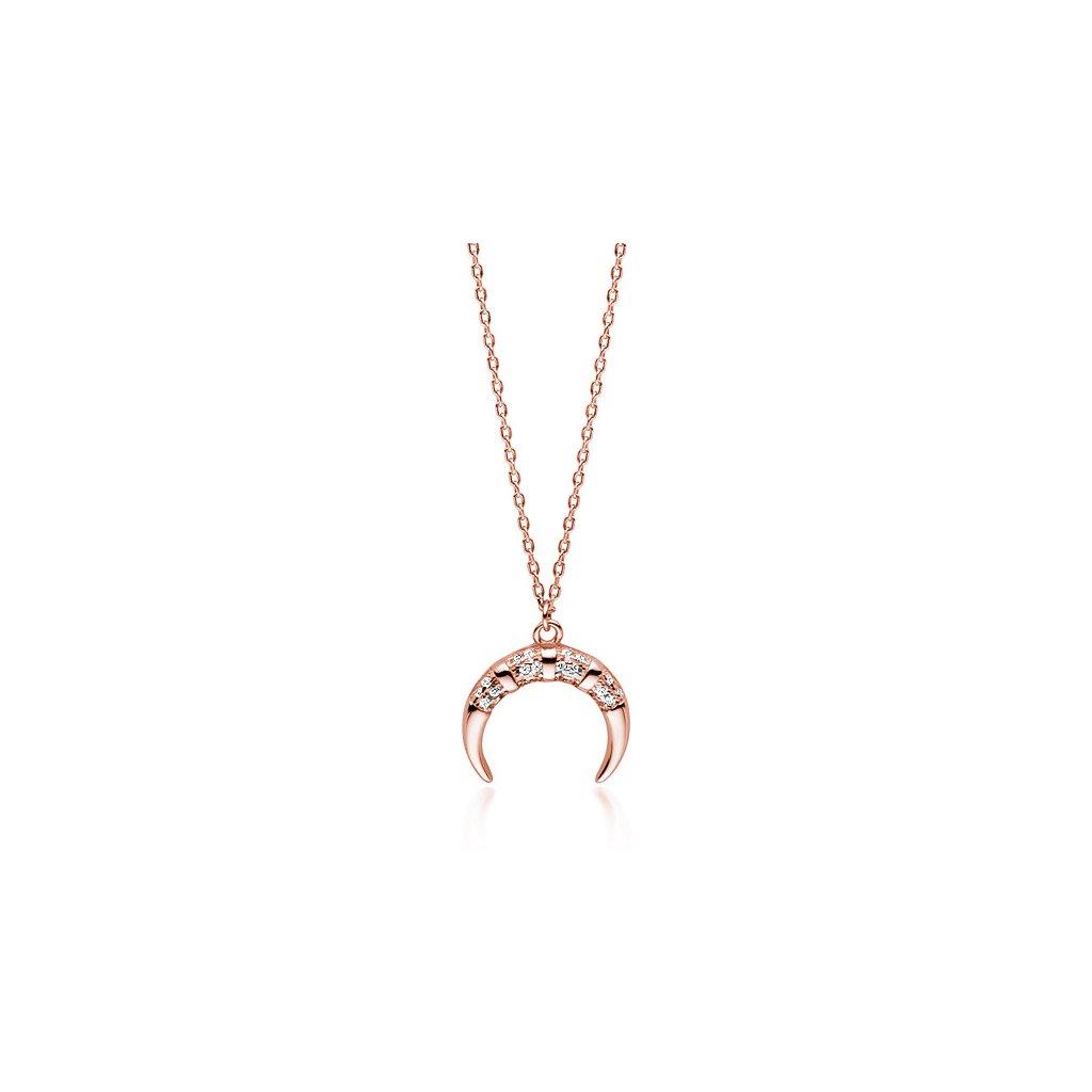 Stříbrný náhrdelník přívěsek půlměsíc se zirkony růžové zlacení