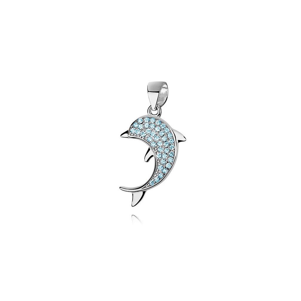 Stříbrný přívěsek modrý delfín