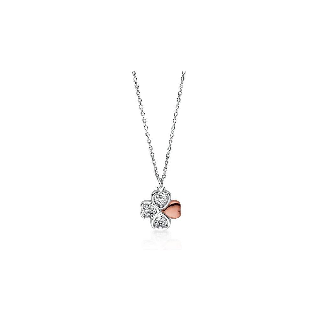 Stříbrný náhrdelník čtyřlístek s růžovým lístkem