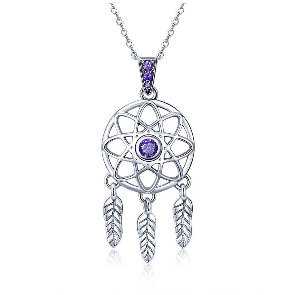náhrdelník lapač snů fialový