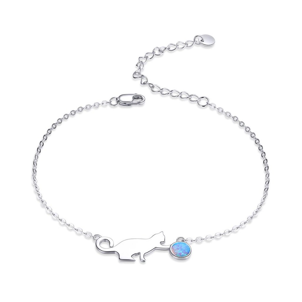 stříbrný náramek kočka modrý opál