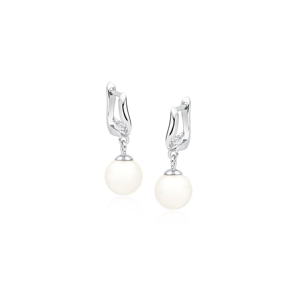 Luxusní stříbrné náušnice perla