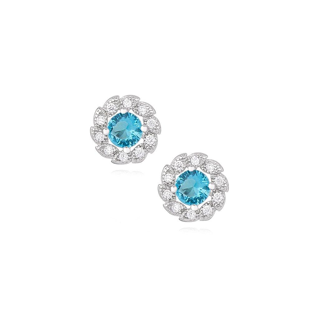 náušnice modré kytičky