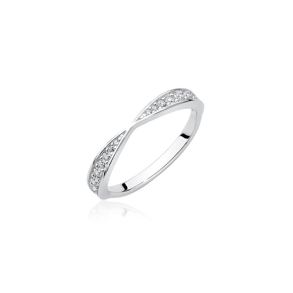 Stříbrný propletený prsten zirkon