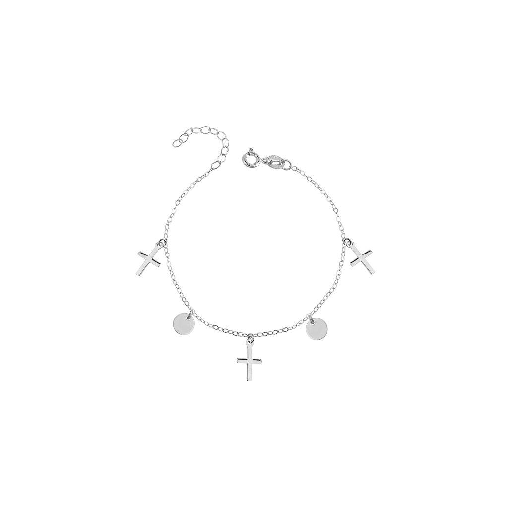 stříbrný náramek s křížky a medailonky