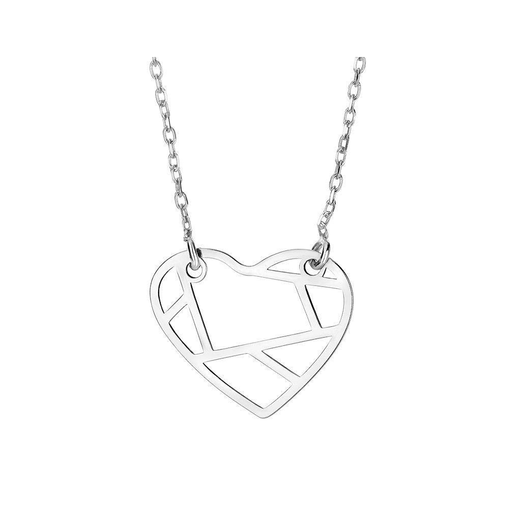 Stříbrný náhrdelník origami srdce