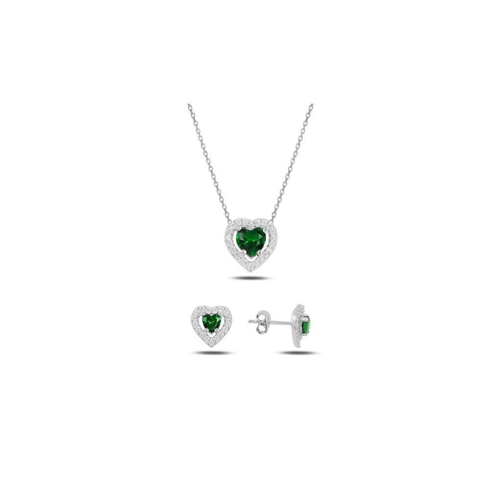 sada šperků zelené srdce