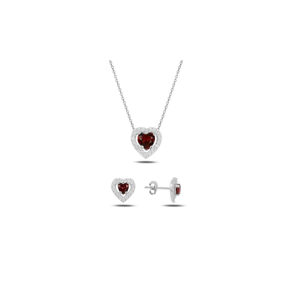 sada šperků rubínové srdce