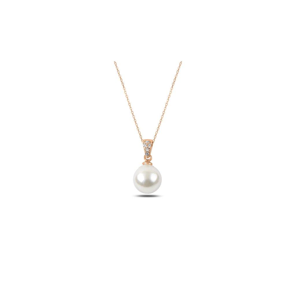 náhrdelník perla růžové zlacení