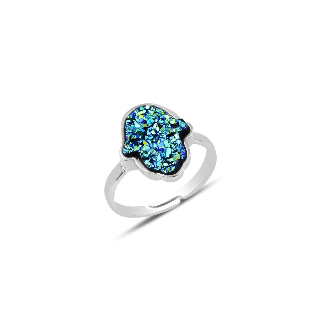 prsten hamsa modrá