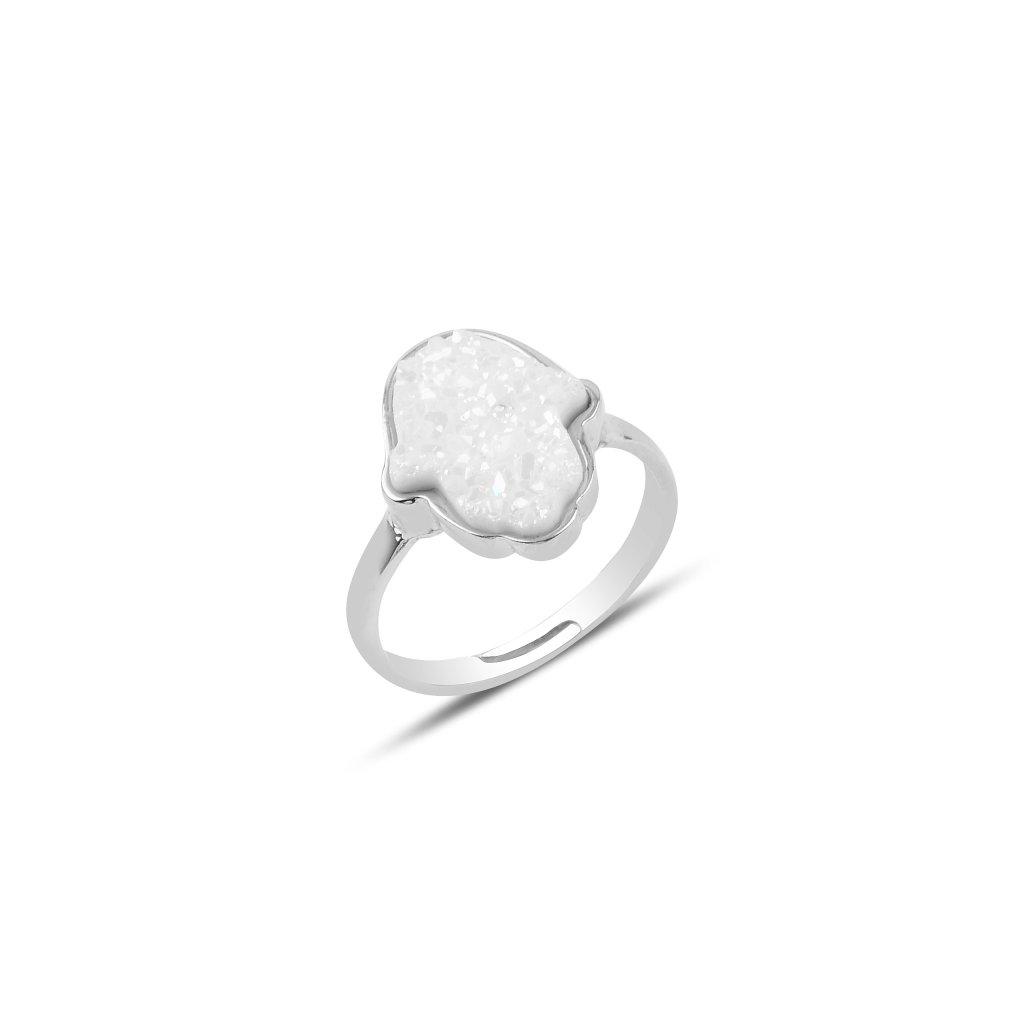 hamsa prsten bílý