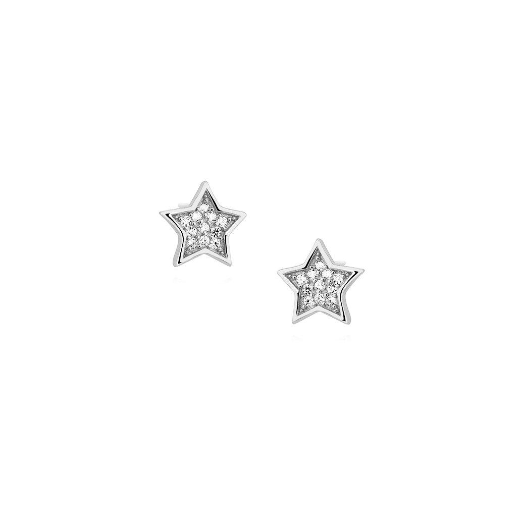 stříbrné náušnice hvězdy se zirkony