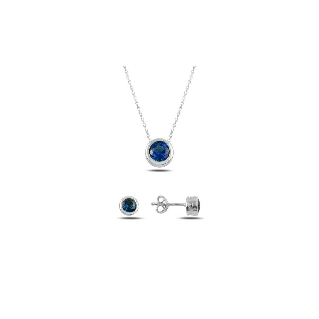 sada šperků s modrým kamenem