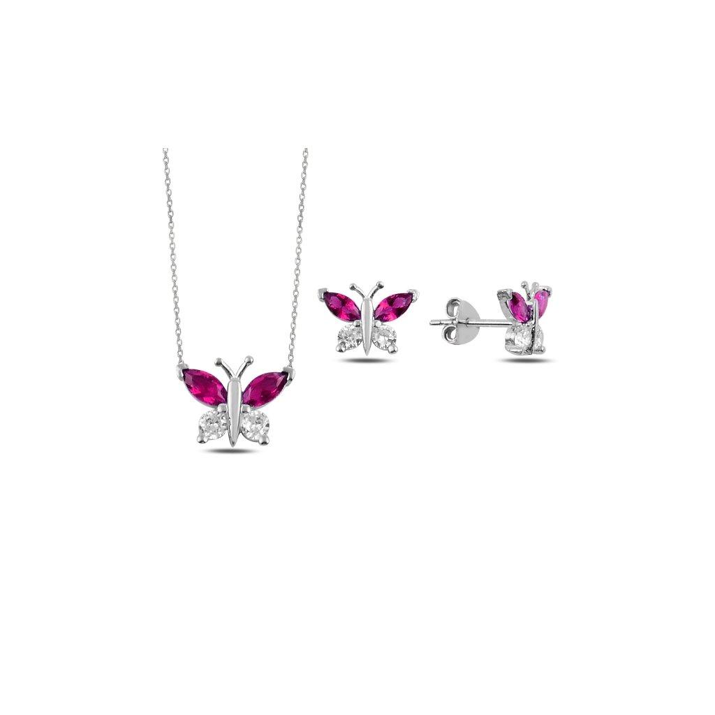 sada šperků motýl růžový