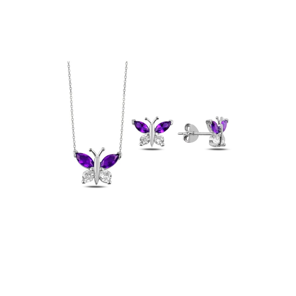sada šperků motýl fialový