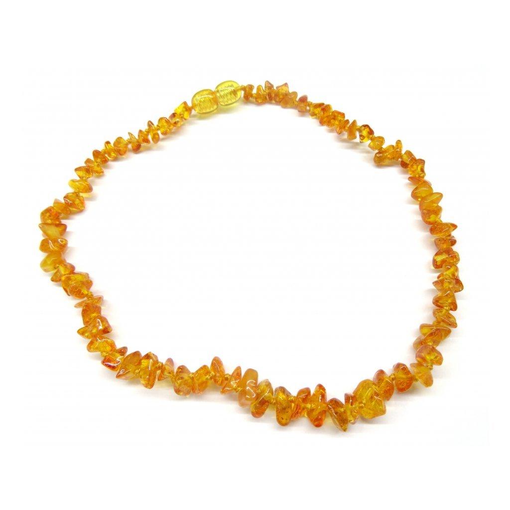 Jantarové korálky pro větší děti  - medové přírodní světlé  (38 cm)