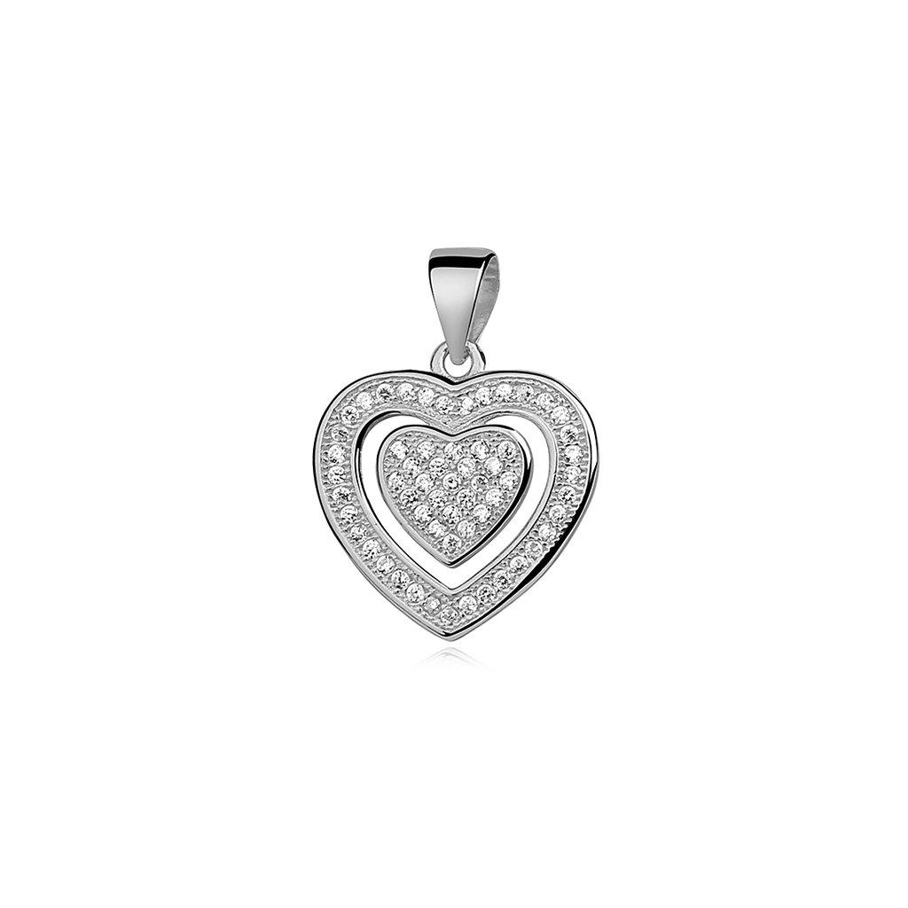 Stříbrný přívěsek dvojité srdce