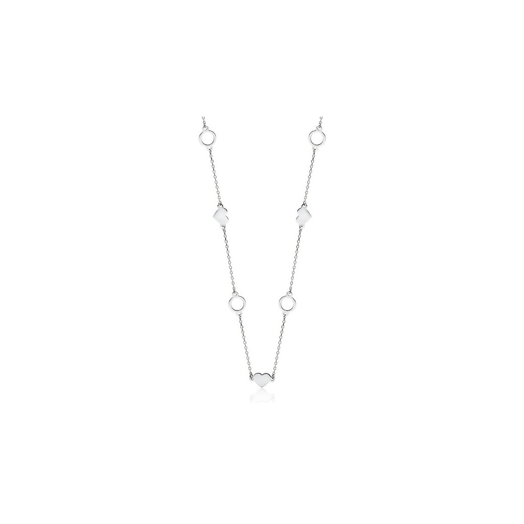 Stříbrný náhrdelník srdce a kruh