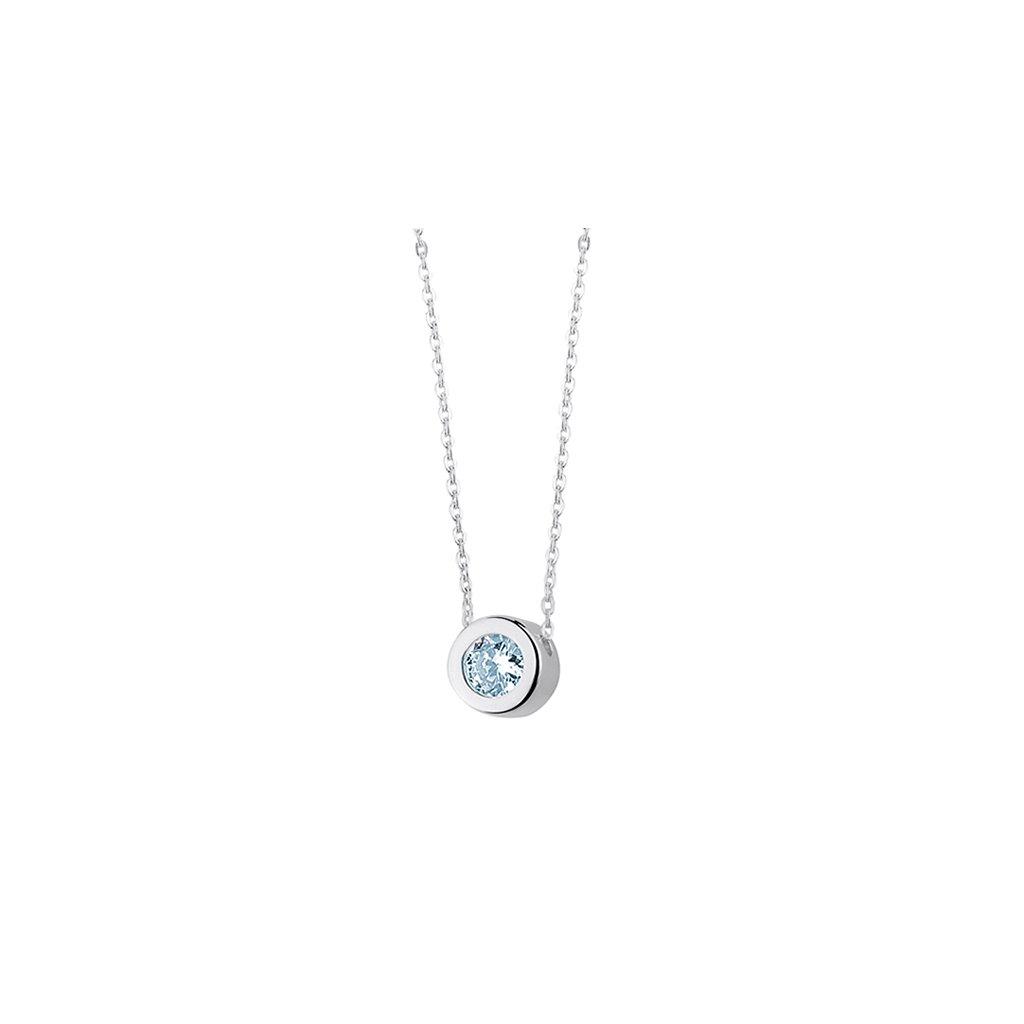 minimalistický náhrdelník se světle modrým zirkonem