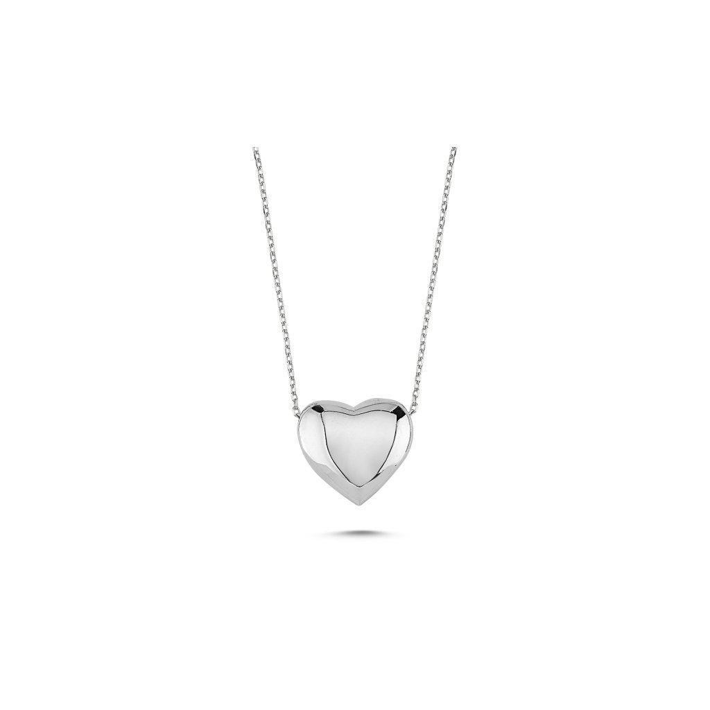 Stříbrný klenutý srdcový náhrdelník