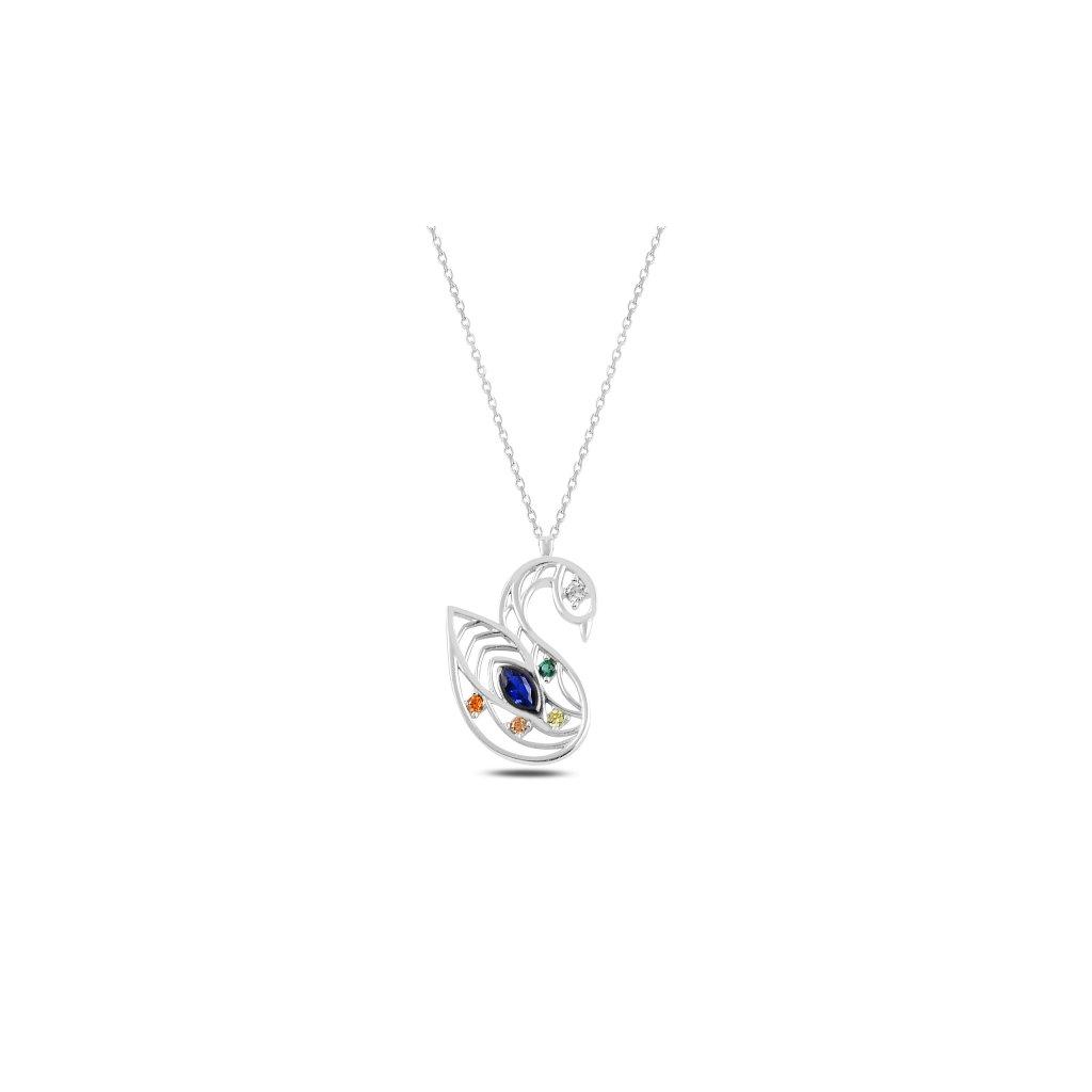 Stříbrný náhrdelník labuť