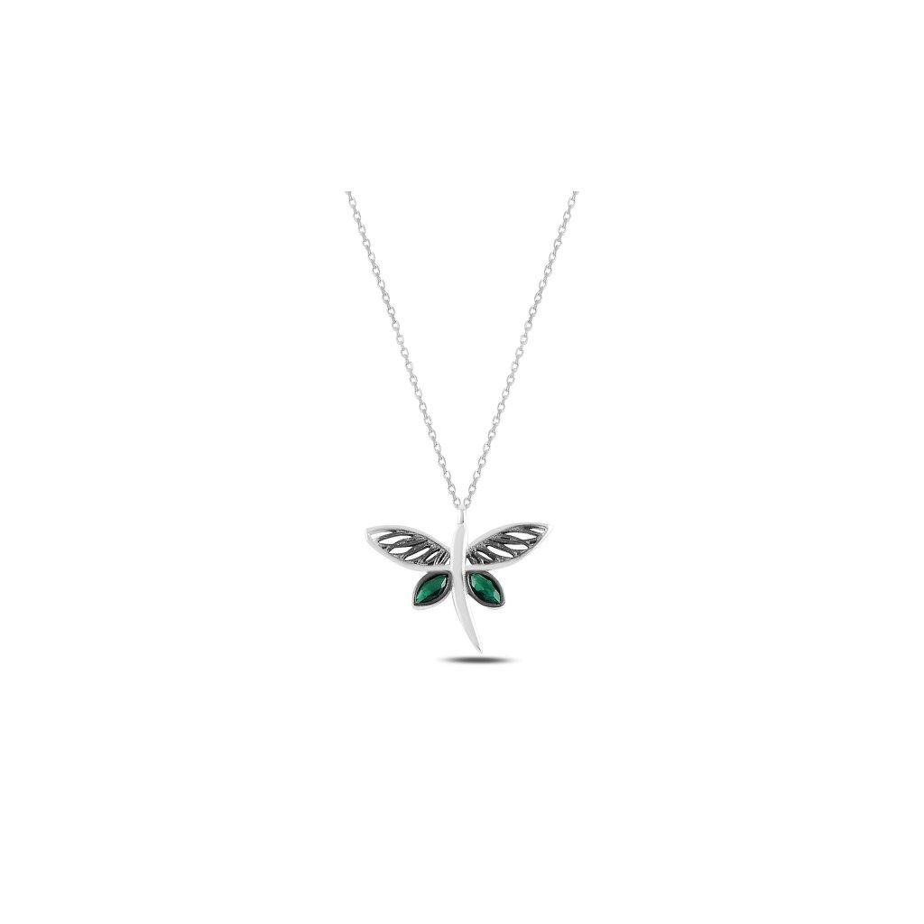 Stříbrný náhrdelník vážka