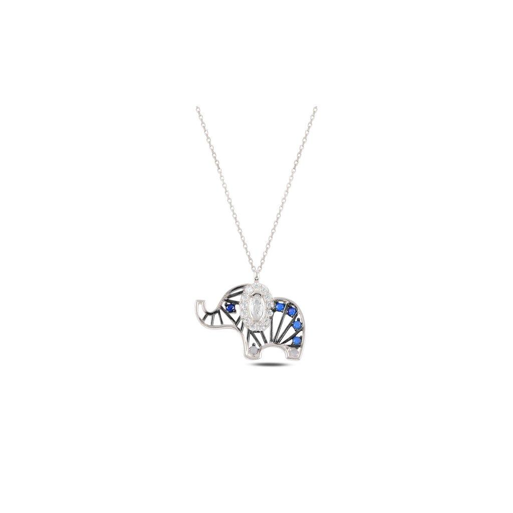 Stříbrný náhrdelník barevný slon