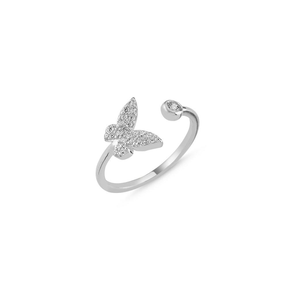 Stříbrný prstýnek motýl