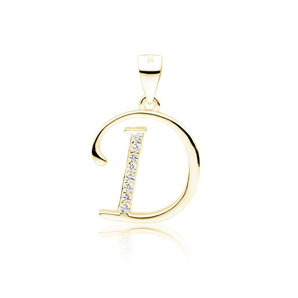 Stříbrný pozlacený přívěsek písmeno D