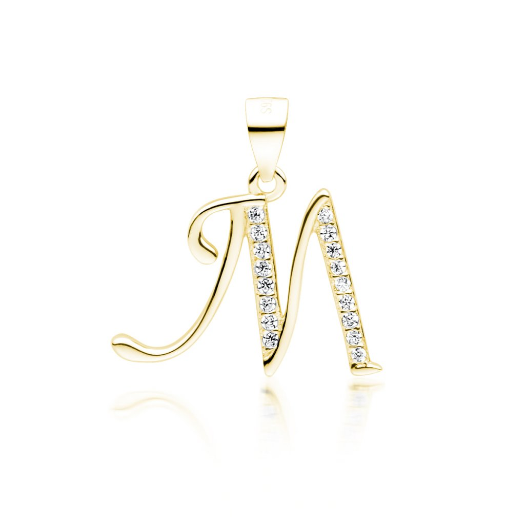 Stříbrný pozlacený přívěsek písmeno M