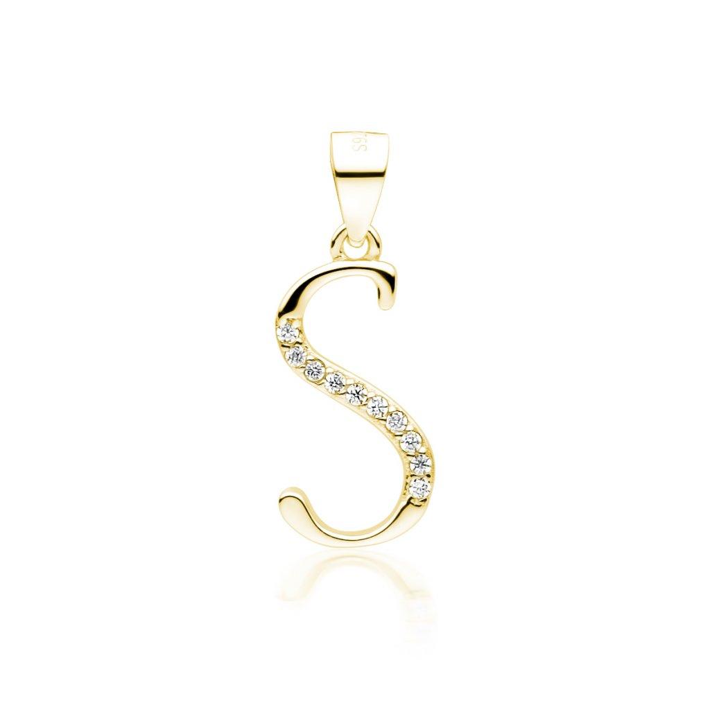 Stříbrný pozlacený přívěsek písmeno S