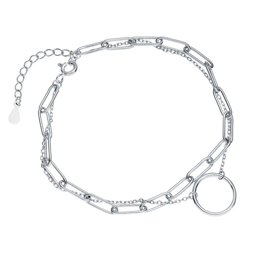 Stříbrný náramek s dvojitým řetízkem s kruhem