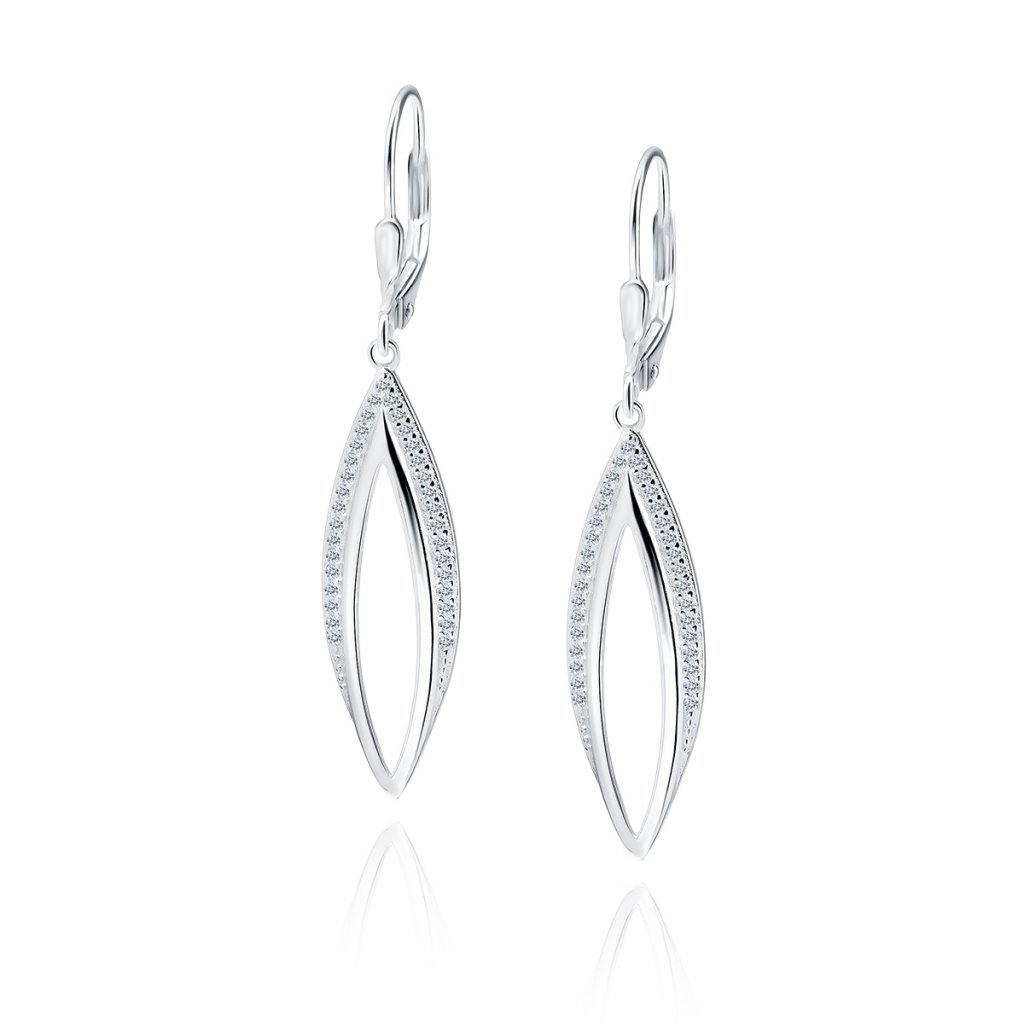 Luxusní stříbrné visací náušnice zirkon