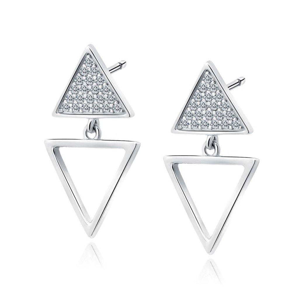 Stříbrné náušnice trojúhelníky se zirkony