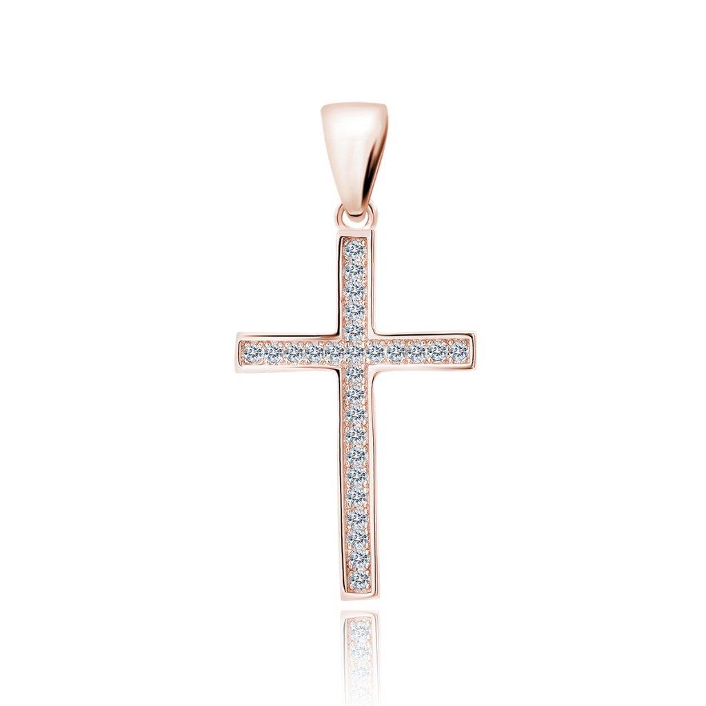 Stříbrný přívěsek křížek se zirkony růžové zlacení