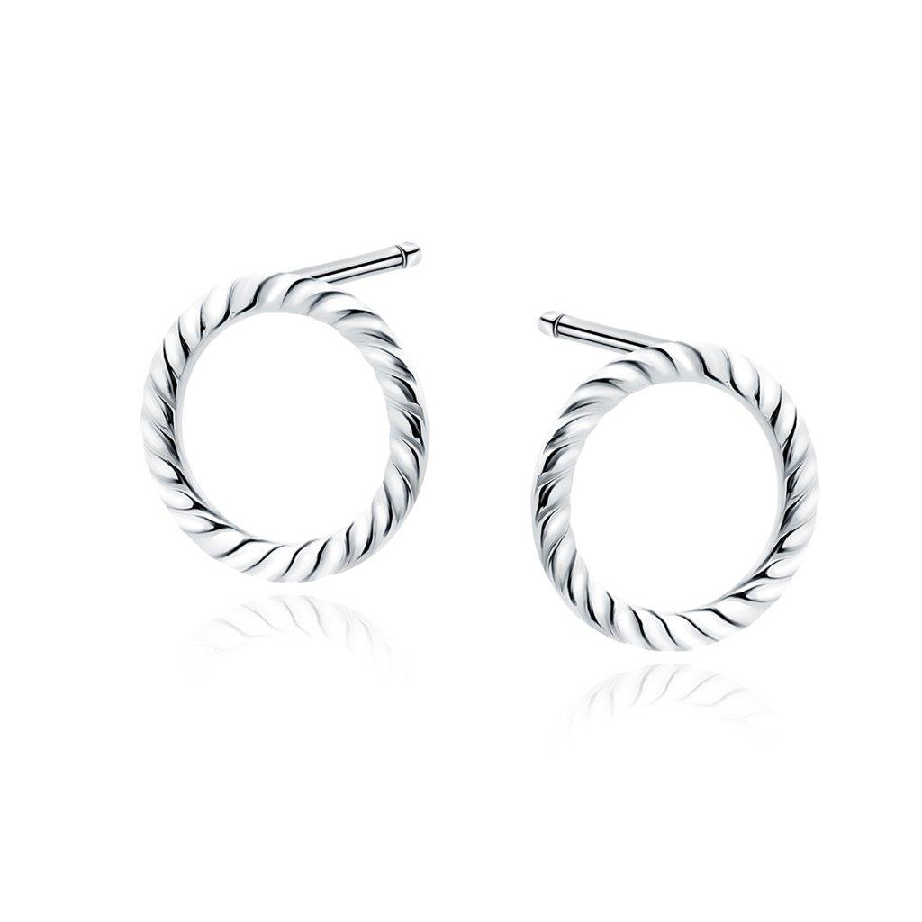 Stříbrné náušnice pletený kruh