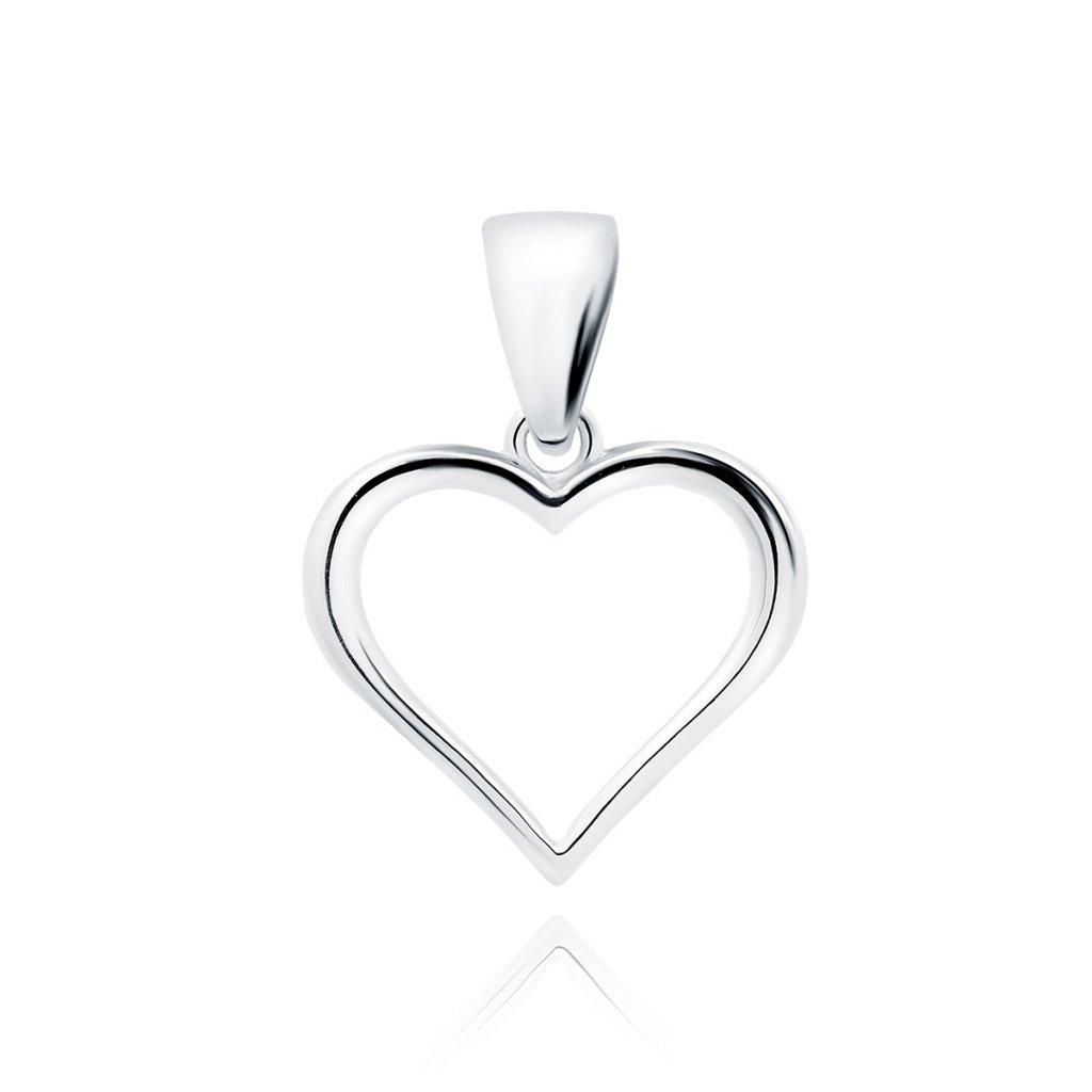 Stříbrný přívěsek srdce hladké
