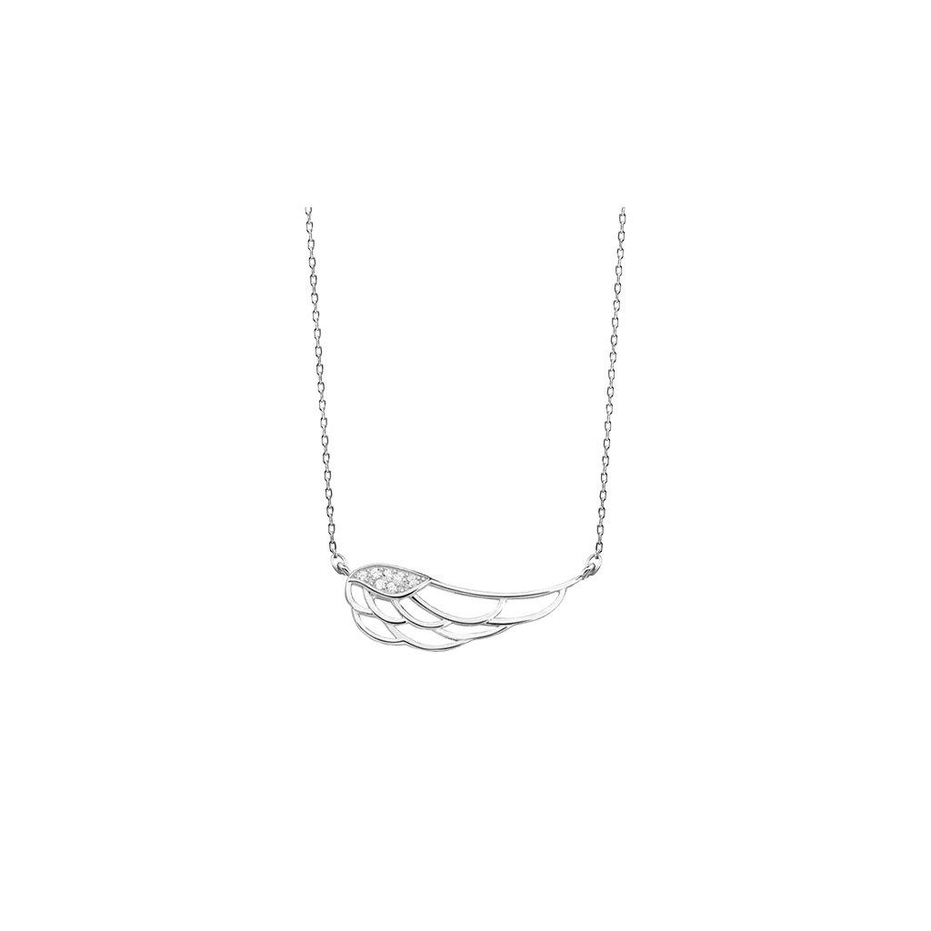 stříbrný náhrdelník s křídlem