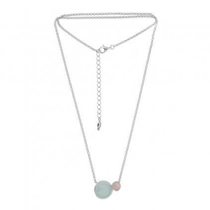 stříbrný náhrdelník s achátem a ametystem