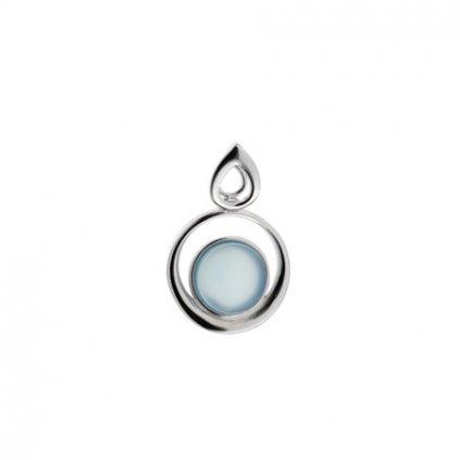 stříbrný přívěsek s modrým achátem