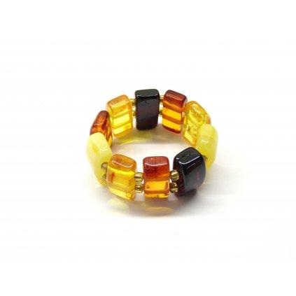 642 pruzny prstynek z jantaru multicolor