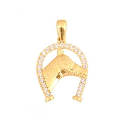 Zlatý přívěsek podkova s hlavou koně se zirkony