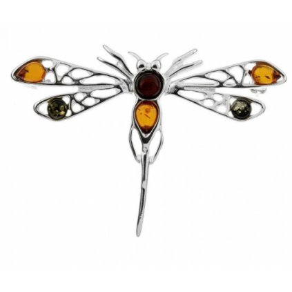 brož s jantarem vážka